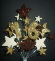 Number age 16th birthday cake topper decoration in choc, gold and cream